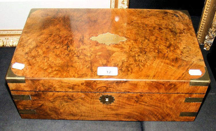 A Victorian brass bound burr walnut writing slope