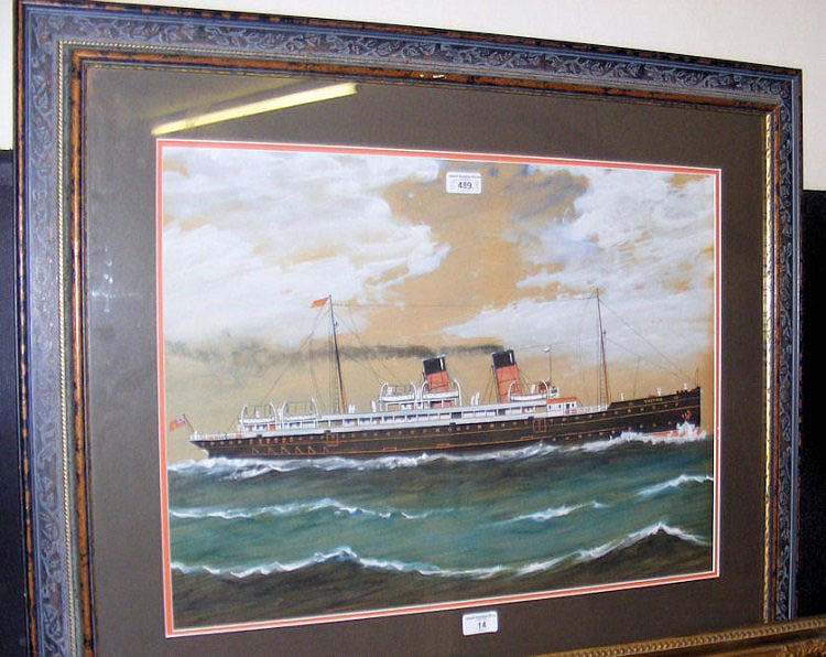 An antique watercolour of the Viking steamship -