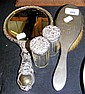 A silver back mirror, brush etc.