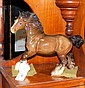 A Beswick Shire Horse ornament in brown gloss