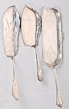 3 Pcs. 19th C. Am. Sterling Silver Three sterling silver flatware serving pieces, second half 19th century--12 3/4