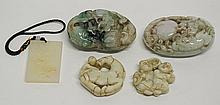 5 Carved Jade Toggles or Pendants Comprising: 1st item: Chinese carved white jade rectangular pendant plaque, crane and lotus blossoms to front, 1 1/2