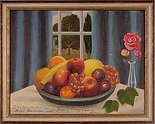Auriel Bessemer (Am., 1909-1986) Still life with bowl of fruit and vase of roses on table in front of window, oil on masonite, signed and personalized lower left