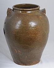Edgefield Stoneware Storage Jar With Letter of Authenticity signed by Stephen and Terry Ferrell, Old Edgefield Pottery, Edgefield, South Carolina, attributing this storage jar to Dave Drake, Rev. John Landrum, Horse Creek Manufactory, Edgefield