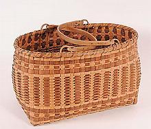 Cherokee Splint Oak Market Basket c. 1930-1940, splint white oak with walnut dyes, white oak double swing handles, top rim white oak; unsigned; 17 1/2