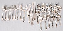 Assorted American Sterling Silver Flatware 34 pieces total: One soup spoon, one butter knife with sterling handle in the Vespera pattern by Towle--Two salad forks, one dinner knife and one butter knife with sterling handles in the R.S.V.P. pattern by