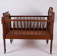 Fine Walnut Victorian Baby Bed