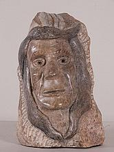 Folk Art Stone Carving of Indian Head