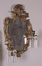 Gilt Metal Wall Sconce & Painted Mirror