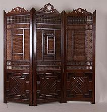 Antique Mashrabiya, 3-Panel Screen