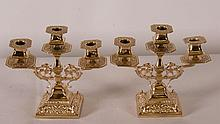 Pr. 19th C. English Brass Candelabra