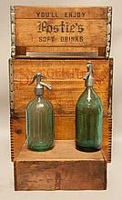 2 Seltzer Bottles, 4 Wooden Boxes