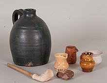 Pottery Jug, Miniatures, & Pipes