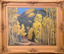 Reynolds Charles Henry (American 1902-1963) Aspen with Cabin oil on canvas