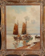 Bladel Fritz (1903-?)  Frachtenseglers oil on canvas