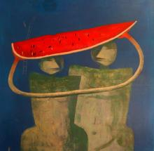 Vallejos Jorge (Peru 1965-) Character with Watermelon V oil on canvas