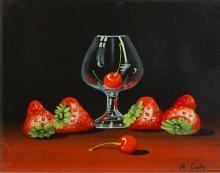 Lak M Still life with Cherry  oil on board