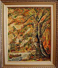 Esteves Antonio (Brazilian American 1910-1983) Autumn Tree oil on canvas