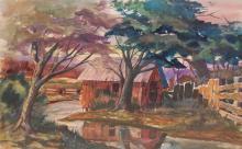 Steele Ben (American 1977-) House watercolor on paper