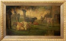 signed H Boner (Dutch School 19th-20th c) Grazing Cows oil on linen in a giltwood frame