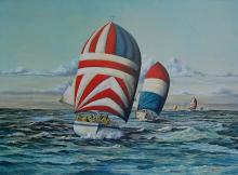 Kirwan (American 20 th century)  The Competition  oil on canvas