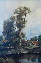 Klein Ludwig  River Landscape With A House oil on canvas