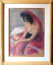 Schoneberg Sheldon C (American 1926) Lady in Red Drape  pastel on paper