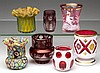 ASSORTED CONTEMPORARY ART GLASS TOOTHPICK / MATCH HOLDERS, LOT OF SEVEN