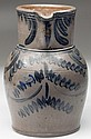 JEREMIAH KEISTER ATTRIBUTED, STRASBURG, SHENANDOAH VALLEY OF VIRGINIA DECORATED STONEWARE PITCHER