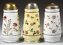 CHALLINOR & TAYLOR DECORATED SUGAR SHAKERS, LOT OF THREE