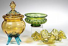 BOHEMIAN ART GLASS ARTICLES, LOT OF THREE