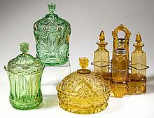 ASSORTED VICTORIAN COLORED GLASS ARTICLES, LOT OF FOUR