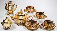 BOHEMIAN DECORATED GLASS 11-PIECE TEA SET