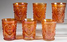 DUGAN JEWELLED HEART / VICTOR CARNIVAL GLASS SET OF SIX TUMBLERS
