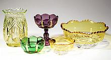 RIVERSIDE VICTORIAN COLORED GLASS ARTICLES, LOT OF FIVE