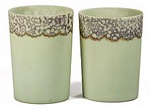 NEW ENGLAND GREEN OPAQUE TUMBLERS, LOT OF TWO