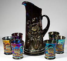 NORTHWOOD ORIENTAL POPPY CARNIVAL GLASS SEVEN-PIECE WATER SET