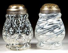 ASSORTED OPALESCENT GLASS SUGAR SHAKERS, LOT OF TWO
