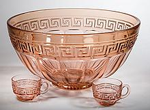 HEISEY GREEK KEY PUNCH BOWL AND TWO CUPS