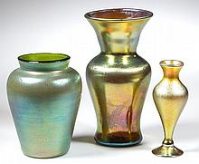 ASSORTED ART GLASS VASES, LOT OF THREE