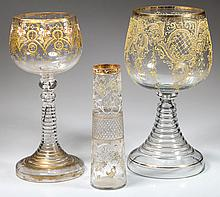 BOHEMIAN MOSER-STYLE DECORATED GLASS ARTICLES, LOT OF THREE
