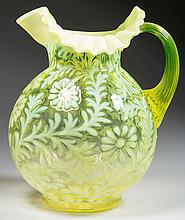 L. G. WRIGHT DAISY AND FERN - BALL-SHAPE MOLD WATER PITCHER