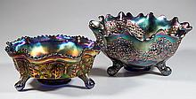 ASSORTED FENTON CARNIVAL GLASS TRIPLE FOOTED BOWLS, LOT OF TWO