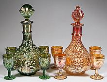 ASSORTED VINTAGE-PATTERN CARNIVAL GLASS FIVE-PIECE WINE DECANTER SETS, LOT OF TWO