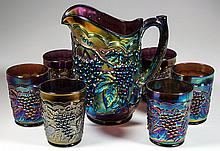 IMPERIAL GRAPE NO. 473 CARNIVAL GLASS SEVEN-PIECE WATER SET