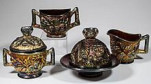 NORTHWOOD ACORN BURR CARNIVAL GLASS FOUR-PIECE TABLE SET