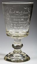 BERLIN, GERMANY BLOWN GLASS PRESENTATION GOBLET