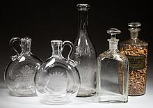ASSORTED BLOWN GLASS BOTTLES / DECANTERS, LOT OF FIVE