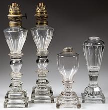 BLOWN AND PRESSED GLASS WHALE OIL LAMPS, LOT OF FOUR