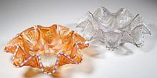 DUGAN PETALS AND FANS CARNIVAL GLASS BOWLS, LOT OF TWO